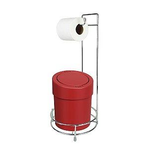 Kit Suporte Porta Papel Higiênico Com Lixeira Tampa Click 5L Banheiro Press - Coza - Vermelho
