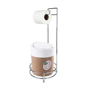 Kit Suporte Porta Papel Higiênico Com Lixeira Tampa Click 5L Banheiro Press Bios - Coza