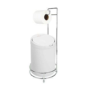 Kit Suporte Porta Papel Higiênico Com Lixeira Tampa Click 7,5L Cesto Lixo Chão Banheiro - Purimax - Branco