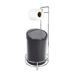 Kit Suporte Porta Papel Higiênico Com Lixeira Tampa Click 7,5L Cesto Lixo Chão Banheiro - Purimax - Preto