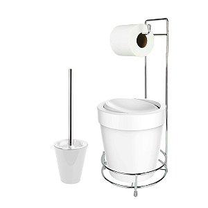 Kit Suporte Porta Papel Higiênico Escova Sanitária Lixeira Com Tampa Basculante 5L Vitra  - Ou - Branco