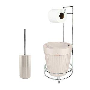 Kit Suporte Porta Papel Higiênico Escova Sanitária Lixeira Com Tampa Basculante 5L Groove - Ou - Bege