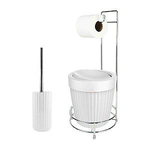 Kit Suporte Porta Papel Higiênico Escova Sanitária Lixeira Com Tampa Basculante 5L Groove - Ou - Branco