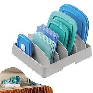 Organizador Plástico Porta Tampas De Panela Pote Pratos Armário Cozinha - 1118CZ Future - Cinza