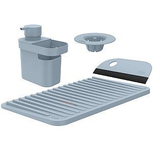 Kit Dispenser Detergente Escorredor Filtro Ralo Rodo Pia Cozinha Azul Glacial - Kte 055 Ou
