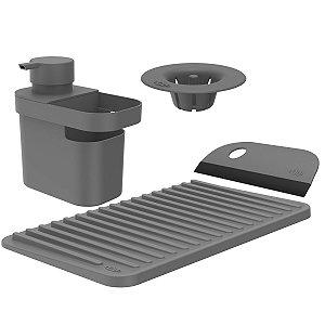 Kit Dispenser Detergente Escorredor Filtro Ralo Rodo Pia Cozinha Chumbo - Kte 055 Ou