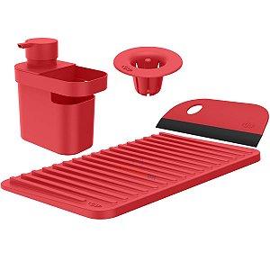 Kit Dispenser Detergente Escorredor Filtro Ralo Rodo Pia Cozinha Vermelho - Kte 055 Ou