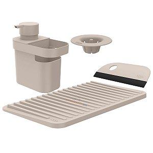 Kit Dispenser Detergente Escorredor Filtro Ralo Rodo Pia Cozinha Bege - Kte 055 Ou