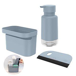 Kit Dispenser Porta Detergente Organizador Rodo Pia Cozinha Azul Glacial - Kte 056 Ou