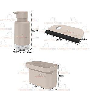Kit Dispenser Porta Detergente Organizador Rodo Pia Cozinha Bege - Kte 056 Ou