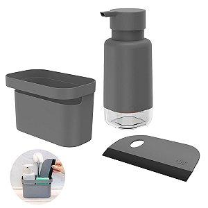 Kit Dispenser Porta Detergente Organizador Rodo Pia Cozinha Chumbo - Kte 056 Ou