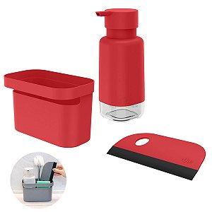 Kit Dispenser Porta Detergente Organizador Rodo Pia Cozinha Vermelho - Kte 056 Ou