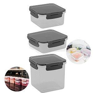 Conjunto 3 Potes Herméticos Tampa Click Porta Alimentos Lancheiras - KTE 014 Ou - Chumbo
