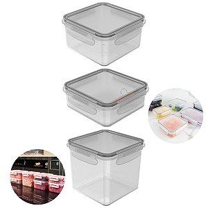 Conjunto 3 Potes Herméticos Tampa Click Porta Alimentos Lancheiras - KTE 014 Ou - Natural