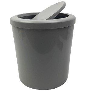 Lixeira 5 Litros Banheiro Cozinha Com Tampa Basculante Cesto De Lixo Plástico  - AMZ - Cinza
