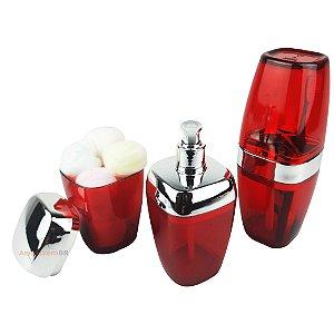 Conjunto Dispenser Sabonete + Suporte Escova Dente + Porta Algodão Banheiro Cromado Vermelho - AMZ