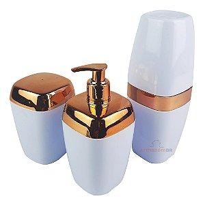 Conjunto Dispenser Sabonete + Suporte Escova Dente + Porta Algodão Banheiro Rose Gold Branco - AMZ