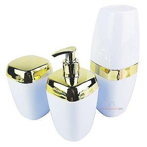 Conjunto Dispenser Sabonete + Suporte Escova Dente + Porta Algodão Banheiro Dourado Branco - AMZ