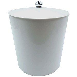 Lixeira 5Litros Multiuso Para Banheiro Cozinha Com tampa Cesto Lixo Plástica - AMZ - Branco