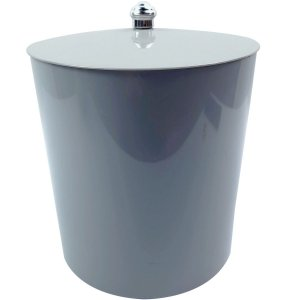 Lixeira 5Litros Multiuso Para Banheiro Cozinha Com tampa Cesto Lixo Plástica - AMZ - Cinza