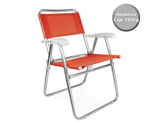 Cadeira Alumínio  Praia Camping Piscina Jardim Fashion - 2116 Mor - Laranja