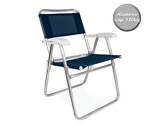 Cadeira Alumínio  Praia Camping Piscina Jardim Fashion - 2116 Mor - Azul Marinho