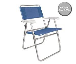 Cadeira Alumínio  Praia Camping Piscina Jardim Fashion - 2116 Mor - Azul Claro