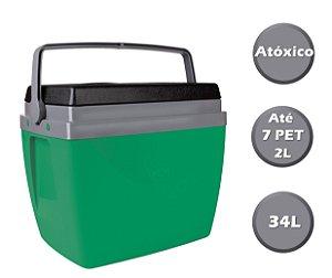 Caixa Térmica Cooler 34L Com Alça Porta Copos Bebidas Alimentos - 25108242 Mor - Verde