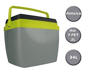 Caixa Térmica Cooler 34L Com Alça Porta Copos Bebidas Alimentos - Mor Cinza