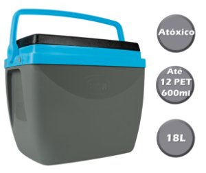 Caixa Térmica Cooler 18L Com Alça Porta Copos Bebidas Alimentos - Mor - Cinza