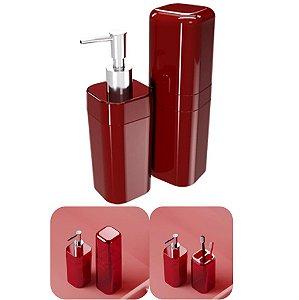 Conjunto Portas Escovas Tampa + Dispenser Sabonete Líquido Banheiro Splash - 99182 Coza - Vermelho