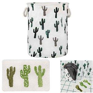 kit Banheiro Tapete Infantil + Cesto Organizador De Roupa Brinquedo Tecido Dobrável - Mor - Cactus