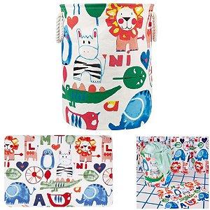 kit Banheiro Tapete Infantil + Cesto Organizador De Roupa Brinquedo Tecido Dobrável - Mor - Animais