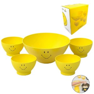 Kit Tigela 3,5l Pipoca + 4 Pote Cumbuca 500ml Sucrilhos Smiley Amarelo - 99322 Coza