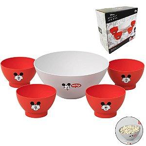 Kit Tigela 3,5l Pipoca + 4 Pote Cumbuca 500ml Sucrilhos Disney Mickey - 14028 Coza