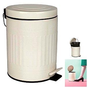 Lixeira Inox Retrô 5l Cesto Lixo Com Pedal Balde Interno Banheiro Cozinha - Mor - Bege