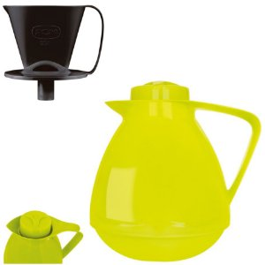 Kit Bule Térmico Amare 650ml + Suporte Coador Café 102 - Mor - Verde Limão