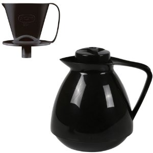 Kit Bule Térmico Amare 650ml + Suporte Coador Café 102 - Mor - Preto