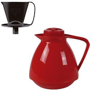 Kit Bule Térmico Amare 650ml + Suporte Coador Café 102 - Mor - Vermelho