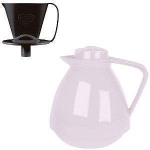 Kit Bule Térmico Amare 650ml + Suporte Coador Café 102 - Mor - Lavanda