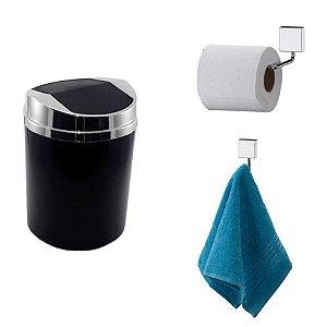 Kit 3 Peças Banheiro Lixeira + Papeleira + Cabide Toalha Cromado - Future - Preto