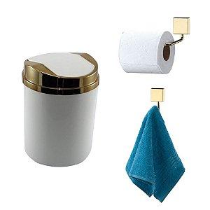 Kit 3 Peças Banheiro Lixeira + Papeleira + Cabide Toalha Dourado - Future - Branco