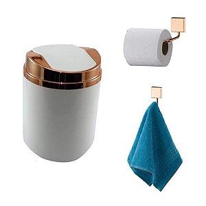 Kit 3 Peças Banheiro Lixeira + Papeleira + Cabide Toalha Rosé Gold - Future - Branco