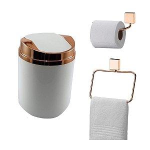 Kit 3 Peças Banheiro Lixeira + Papeleira + Toalheiro Argola Rosé Gold - Future - Branco