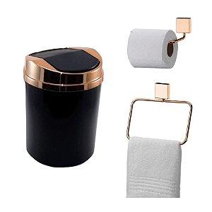 Kit 3 Peças Banheiro Lixeira + Papeleira + Toalheiro Argola Rosé Gold - Future - Preto