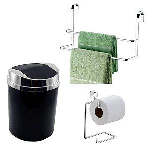 Kit 3 Peças Banheiro Lixeira + Papeleira + Toalheiro Duplo Box Cromado - Future - Preto