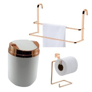 Kit 3 Peças Banheiro Lixeira + Papeleira + Toalheiro Duplo Box Rosé Gold - Future - Branco