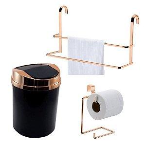 Kit 3 Peças Banheiro Lixeira + Papeleira + Toalheiro Duplo Box Rosé Gold - Future - Preto