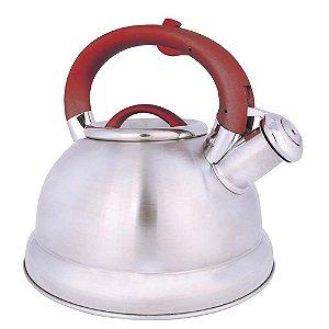 Chaleira Diletta Fundo Triplo De Aço Inox 3 Litros Chá Água - Mor - Vermelho