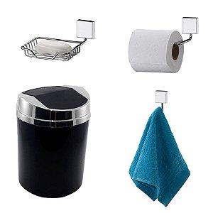 Kit 4 Peças Banheiro Lixeira + Papeleira + Cabide Toalha + Saboneteira Cromado - Future - Preto
